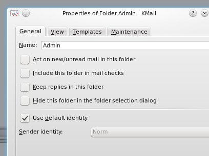 KMail Folder Properties